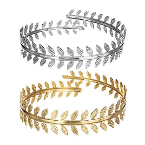 Milageto 2 Stück Wirbelblatt Oberarm Mädchen Party Armband Armband Manschette Armreif Armband