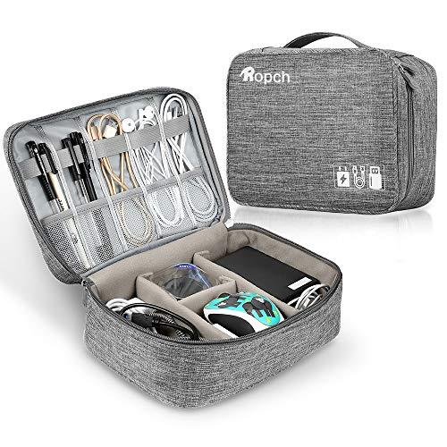 Ropch Elektronische Tasche Organizer, Universal Tragetasche Schutzhülle für Kabel, Adapter, USB-Sticks, Powerbank, Speicherkarten, Externe Festplatte (L1: Grau)