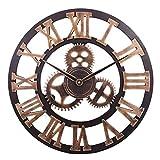 DORBOKER 16' orologio da parete grande retrò premium per cucina, camera da letto, soggiorno, ufficio (40CM Gear Gold)