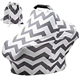Baby Car Seat Covers Super Soft Stretchy and Breathable Nursing Canopy for Boys and Girls with Pouch Cute Gray Wave Stripes