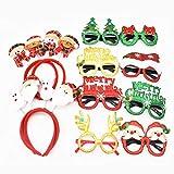 Diademas Navideñas,Jicyor 8pcs Niños Adultos Fiesta Papá Noel Diadema Muñeco Nieve + 8pcs Novedad Brillo Gafas Árbol Navidad Divertidas Gafas Para Fiesta Navidad Decoración Disfraces