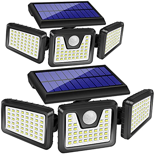 Juego de 2 luces solares exteriores,128 LED,800 lm, Detector de movimiento, 3 cabezales giratorios, Iluminación gran angular de 270 ° , Impermeable IP65, Proyector de seguridad LED (luz diurna