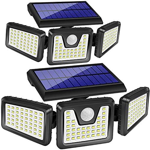 Lot de 2 lampes solaires d'extérieur - 128 LED - 800 lm - Détecteur de mouvement - 3 têtes réglables - Éclairage grand angle 270 ° - Étanche IP65 - Projecteur LED de sécurité (lumière du jour)