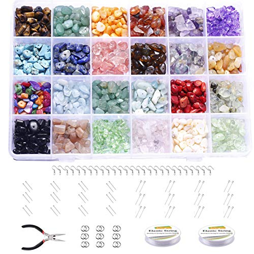 Cuentas de Piedra irregular 24 Colores, Set de Cuentas para Hacer Pulseras Kit de Cristal de Piedras Preciosas Amatista Piedra Natural para Hacer Joyas Collares Pendientes Pulseras Anillos