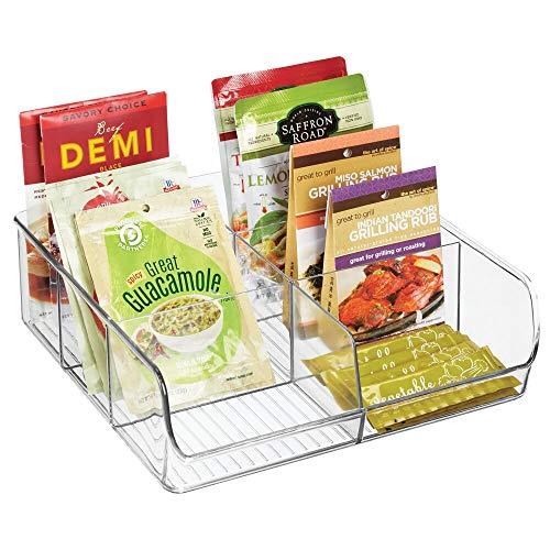mDesign Caja de almacenaje – Caja organizadora apilable con 6 compartimentos para guardar alimentos – Moderno organizador de cocina para sobres de sopa, especias, etc. –...