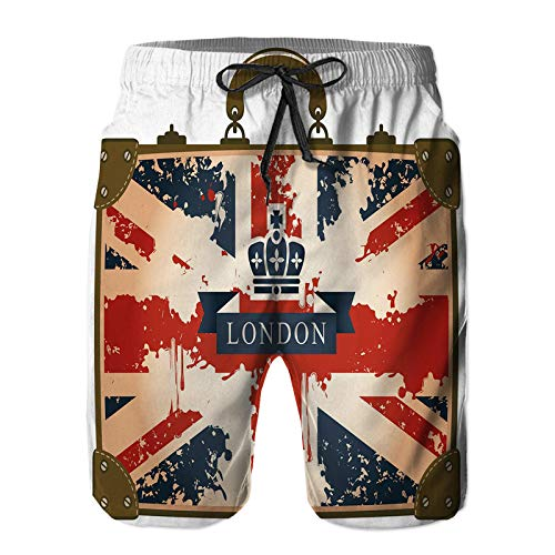Aerokarbon Hombres Playa Bañador Shorts,Maleta de Viaje Vintage con Imagen de Corona y Cinta de la Bandera británica de Londres,Traje de baño con Forro de Malla de Secado rápido S