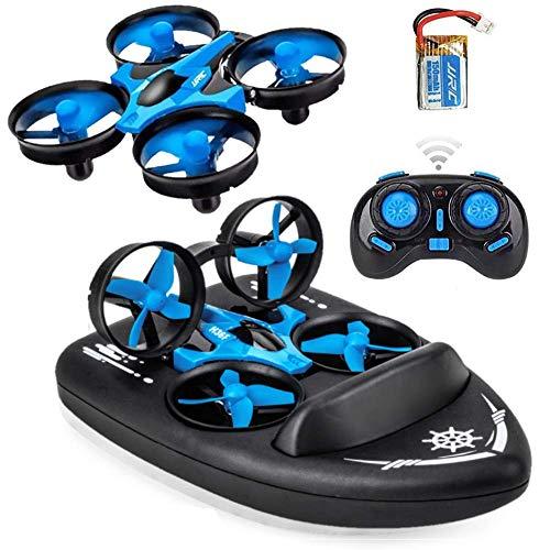 SeeKool MINI 3 en 1 RC Drone Quadcopter, 2.4GHZ Modo sin Cabeza y con Flips 360°, Tierra / Agua / Aire dron de Deformable Anfibio, Bueno para Principiantes - UH36F, Aerodeslizador Barco Niños Juguetes
