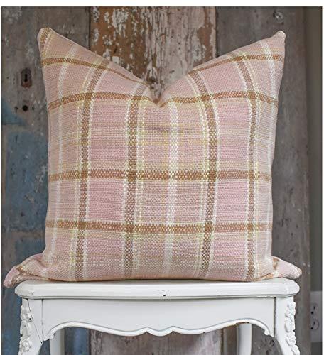 Funda de cojín de chenilla rosa para decoración de casa de campo, sala de estar de primavera, estilo rústico moderno