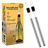 Guay Bebida Wine Chiller Stick and Aerating Pourer - In Bottle Wine Cooler Chilling Rod with Aerator Pourer - Premium Wine Accessory for Iceless Chilled Wine – Pack of 2