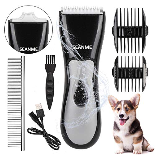 seanme Dog Clippers Washable, New Upgrade Waterproof Pet Grooming Kit with Double Blades Professional Electric Trimmer Set Rechargeable Cat Trimmer Low Noise Shaver for Pets/Dogs/Cats