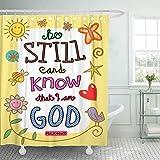 None brand Schrift Bibel Vers Cartoon Christliches Christentum Clip Duschvorhang wasserdicht mit Haken-B90xH180cm