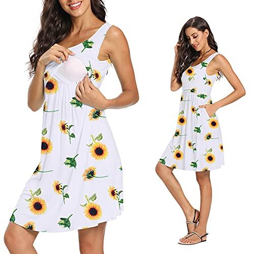 Product Image of the GLAMIX Women's Nursing Dress Summer Casual Sleeveless Breastfeeding Tank Dresses...