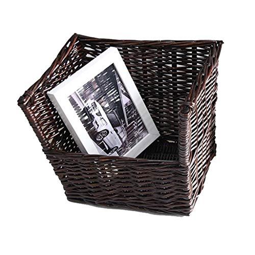 Chica dormitorio Revista cesta del almacenaje, caja de almacenamiento de gran capacidad for el Juego de CD / Album de Música - ropa sucia Cesta de almacenamiento ( Color : Wood , Size : 25*23*25cm )