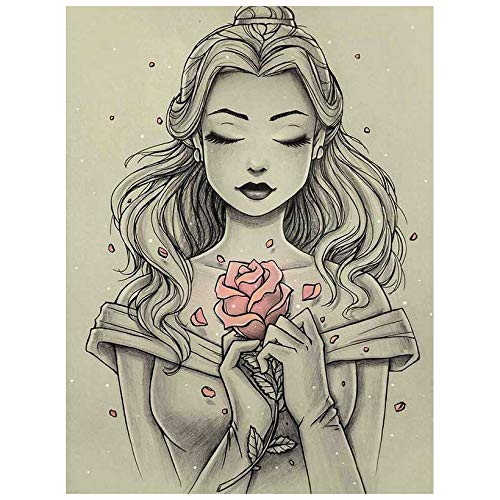 5D Diamond Painting by Number Kit, Full Drill Princess Belle Girl Literary Sketch Flowers Rhinestone Embroidery Cross Stitch Supply Arts Craft Canvas Wall Decor