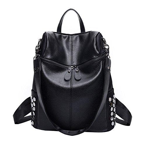 BAAFG Niet-Rucksack College Wind Mit Leder-Mode Casual Rücken Tanz Tasche,Black1-OneSize