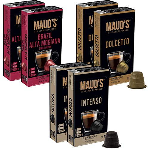 Maud's Espresso Capsules Variety Pack 60ct., 20 Espresso Pods Of Each Flavor (Intenso, Dolcetto, Brazil Alta Mogiana) - 100% Hand-Crafted Arabica Coffee - Bold Exotic Single Origin Italian Espresso Capsules, Single Serve Dark Roast Coffee Espresso Pods, Nespresso Original Machine Compatible