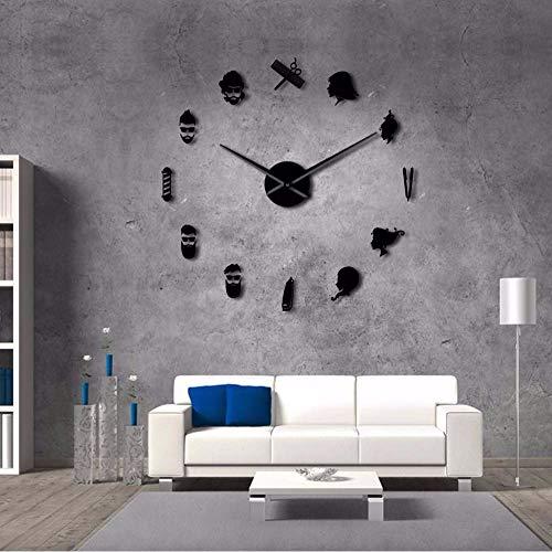 Kuletieas Bar de peluquería Negro Tijeras salón de Belleza DIY Arte de la Pared Reloj de Pared Gigante Aguja Grande sin Marco peluquería peluquería Reloj de pared-27inch