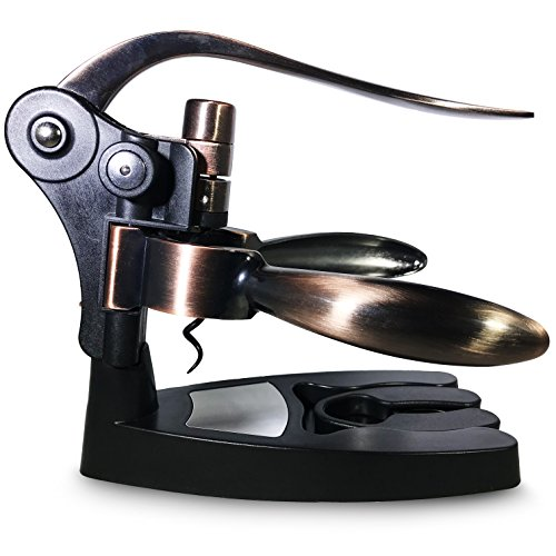 Wine Opener By Shouri: Wine Bottle Corkscrew With Ergonomic Handle - With Spare Teflon Spiral / Worm, Foil Remover, and Stand in Sleek Bronze Finish - Effortless And Easy