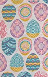 Mainstream Colorful Geometric Floral Easter Eggs Vinyl Flannel Back Tablecloth (52' x 90' Oblong)
