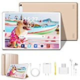 Tablet 10 inch, Android 9.0 Quad-Core Processor Tablet PC with 3GB RAM, 64GB Storage, Dual Sim Card Slots, Dual Camera, 1920x1200 IPS Full HD Display, 4G Wi-Fi(Golden)