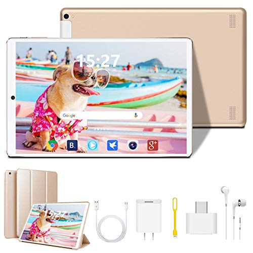 Tablet 10 inch, Android 9.0 Quad-Core Processor Tablet PC with 4GB RAM, 64GB Storage, Dual Sim Card Slots, Dual Camera, 1280x800 IPS Full HD Display, 4G Wi-Fi(Golden)