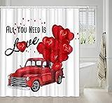 Valentinstag Duschvorhang für Badezimmer, Bauernhof, Retro, roter LKW mit romantischen herzförmigen Luftballons, Duschvorhang-Set für Liebhaber, Stoff Badezimmervorhang mit Haken, 174 x 178 cm