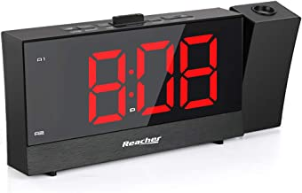 REACHER Projection Alarm Clock with Dual Alarm USB 0-100 Dimmer and Snooze Time Option for Bedroom Black
