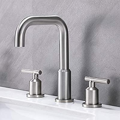 SHACO Modern 8 Inch Brass Widespread Brushed Nickel Bathroom Sink Faucet,2 Handle 3 Hole Stainless Steel Bathroom Lavatory Vanity Faucet Set with cUPC Supply Lines