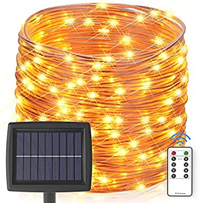 Asmader Solar String Lights Outdoor, 60 ft 200 LEDs Fairy Lights Powered by Solar and Battery, IP67 Waterproof 8 Modes RF Remote Rope Lights with 3.7V/1500mA Solar Lights for Patio Decor(Warm White)