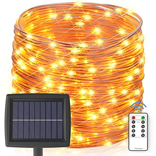 Solar String Lights Outdoor, 60 ft 200 LEDs Fairy Lights Powered by Solar and Battery, IP67 Waterproof 8 Modes RF Remote Rope Lights with 3.6V/2000mA Solar Lights for Patio Decor(Warm White)