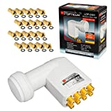 HB-DIGITAL Opticum - Set de LNB monobloque (0,1 dB, LNC Directo, 2 satélites, Astra 19,2°, Hotbird 13°, Full HD TV, 3D Ultra HD 4K, boquillas de Goma, Conector F Dorado)