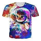 chicolife Unisex Hombres niños bebé Espacio Gato Camiseta 3D Impresos Casual de Verano Manga Corta T Camisas Camisetas
