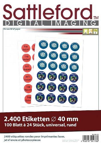 Sattleford Adressaufkleber Drucker: 2400 Etiketten rund 40 mm für Laser/Inkjet (Aufkleber)