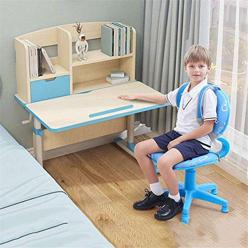 N/Z Daily Equipment Kids Desk and Chair Set Adjustable Study Desk Chair for School Bedroom with Bookstand Storage for Elementary Kids Desks Blue