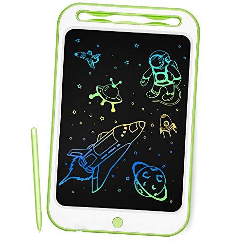 Richgv 10 Pollici Tavoletta Grafica Digitale Scrittura, Elettronico Colorato Ewriter LCD Writing Tablet Disegno Pad con Memoria di Blocco per Bambini della Casa Scuola Ufficio (Verde)