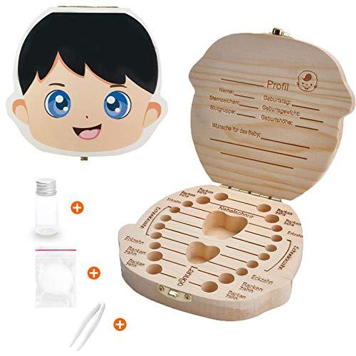 Zahnbox Holz Milchzähne Box - Holz Kinder Andenken Organizer für Baby Milchzähne, Persönlichkeit Baby Zähne Box Zahnschoner Design für Kinder Laubzähne Sammlung (Boy)