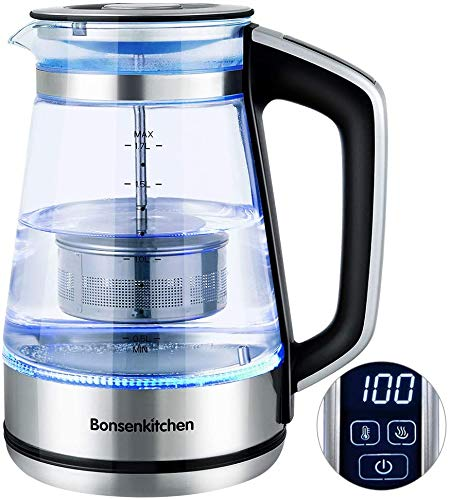 Bonsenkitchen Electric Kettle 1.7L, Temperature Control (40 ℃ - 100℃) Tea Filter Kettle with Keep Warm Function, 2200W Fast Heating,Auto Shut-Off, Boil-Dry Protection