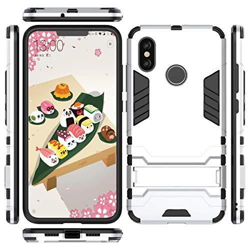 tinyue Cover per Xiaomi Mi 4C / Xiaomi Mi 4i, Copertura Antiurto PC + TPU Custodia Rigida in Silicone Armatura Pesante 2 in 1 con Protezione per Lo Stand Cover, Argento