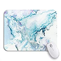 NINEHASA 可愛いマウスパッド キャンバス上の水彩画の青とピンクの大理石の抽象絵画ノンスリップゴムバッキングノートブック用マウスパッド