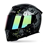 he-art casco integrale apribile a doppia visiera protezione solare fodera traspirante lavabile adatto per street bike racing autobike endurance race alien pattern graffiti,c,l