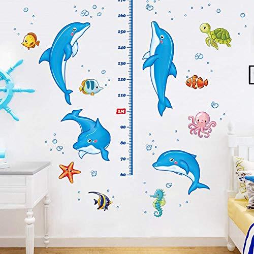 GWFVA Dolfijn Hoogte Cartoon Sticker Mobiele Kleding Tee Meet Hoogte Liniaal Lijm Verf Verwijder Muur Sticker
