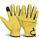Gardening Gloves for Women, Natural Breathable Sheep Leather Garden Gloves, Working Gloves For Gardening, Fishing, Clamming and Outdoor, Yellow(Size Fit Most-M)