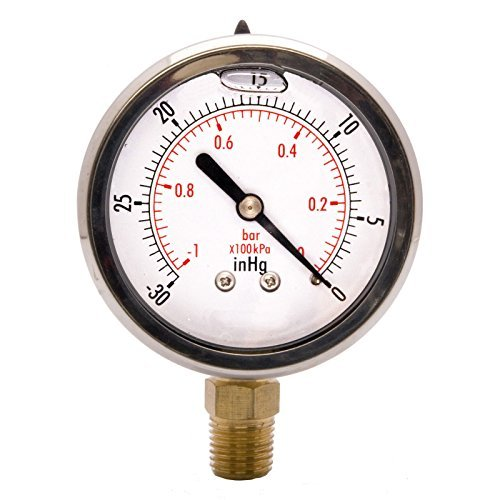 "HFS (R) 2"" Oil Filled Vacuum Pressure Gauge - SS/Br 1/4"" NPT Lower Mount -30HG/0"