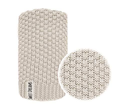 Baumwolle 100% Baby Strickdecke Kuschelige Decke ideal als Baby Decke, Erstlingsdecke, Wolldecke oder Baby Kuscheldecke 80x100 I 100x120 (1032) (Beige, 100 x 120)