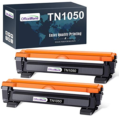 OfficeWorld Compatible Brother TN1050 TN-1050 Cartucho de tóner para Brother DCP-1510 DCP-1512 DCP-1610W DCP-1612W, HL-1110 HL-1112 HL-1210W HL-1212W, MFC-1810 MFC-1910W (2 Negro)