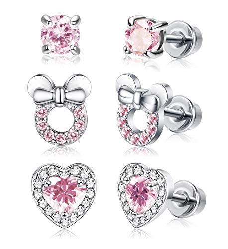 Adramata 3 Paare Mädchen Screwback Ohrringe für Frauen Herz CZ Stud Kinder Kleinkind Ohrringe Edelstahl Set für Kinder