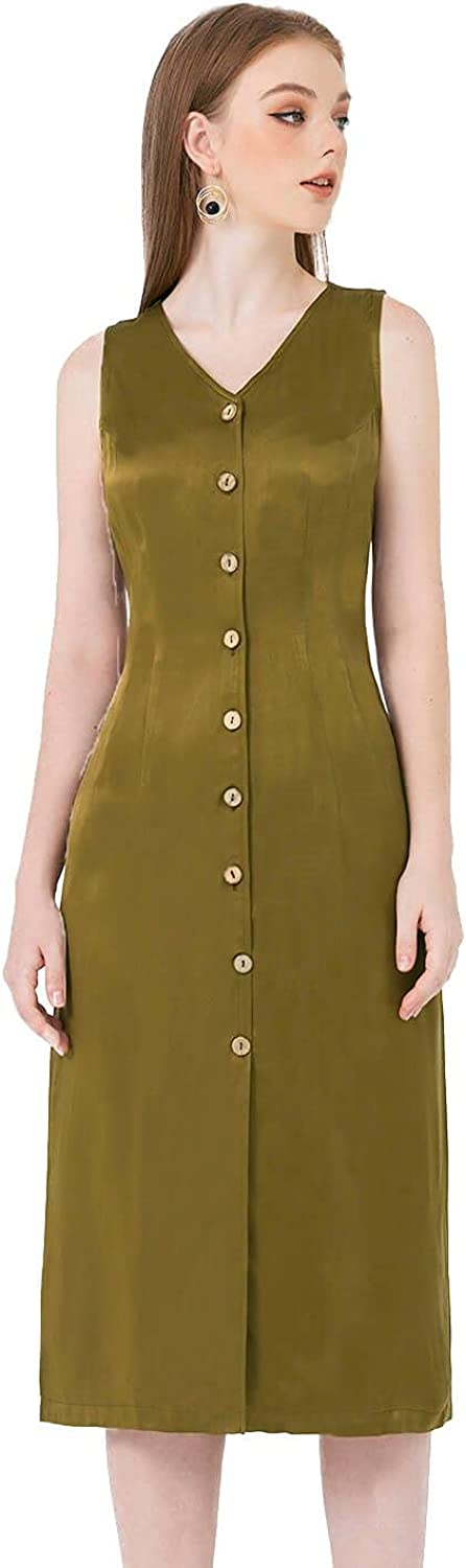 Lamer Elegant Classy Sleeveless V-Neck Button Front Midi Dress with Functional Pockets for Business Casual Women