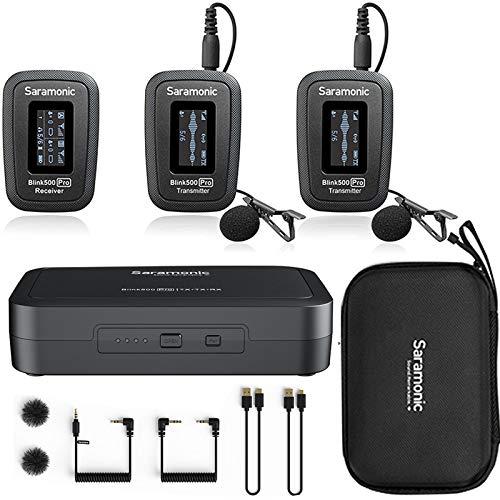 Saramonic Blink 500 pro b2マイク 2.4GHz無線コンデンサーマイク全方向極性パターン スマートフォンとDSLRカメラに対応 3.5mmのユニバーサルリアルタイム 集音 撮影 Vlog 自撮り 取材などに適応 (B2=TX+TX+RX)