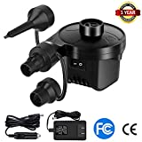 Electric Air Pump for Inflatables Air Mattress Pump Portable Quick-Fill Air Pump with 3 Nozzles, 110V AC/12V DC, Perfect Inflator/Deflator Pumps for Outdoor Camping,Blow up Pool Raft Air Mattress Beds