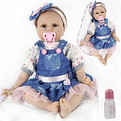 ZIYIUI 22 Pulgadas 55cm Muñecos Bebé Reborn Niña Silicona Suave Vinilo Vida Real Realista Hecho a Mano Juguetes para Bebés Recién Nacidos Mejor Regalos de Cumpleanos Reborn Baby Toddler